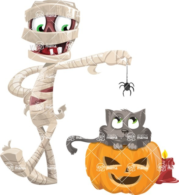 Funny Mummy Vector Cartoon Character - Playing With Cat on Halloween