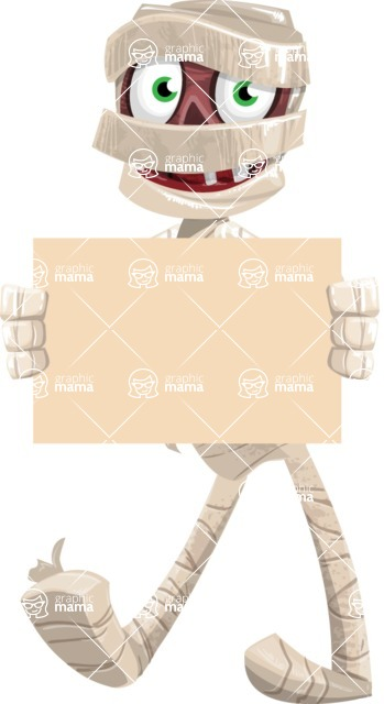 Funny Mummy Vector Cartoon Character - Presenting on a Blank Halloween Sign