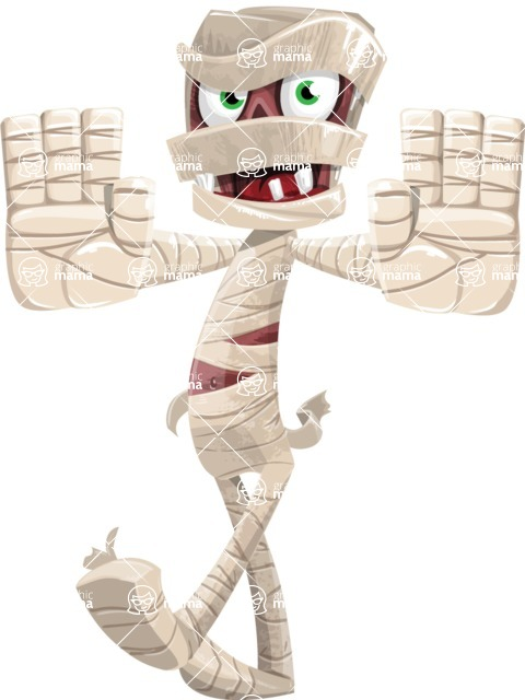 Funny Mummy Vector Cartoon Character - Stopping with Hands