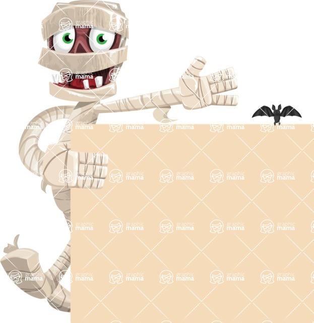 Funny Mummy Vector Cartoon Character - With a Blank Halloween Sign with a Bat