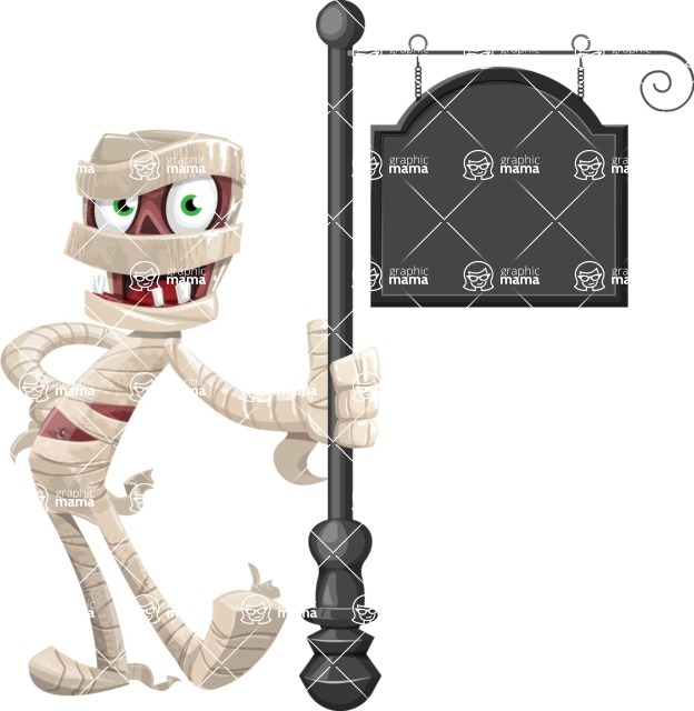 Funny Mummy Vector Cartoon Character - With a Blank Vintage Street Sign