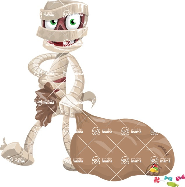 Funny Mummy Vector Cartoon Character - With a lot of Halloween Treats