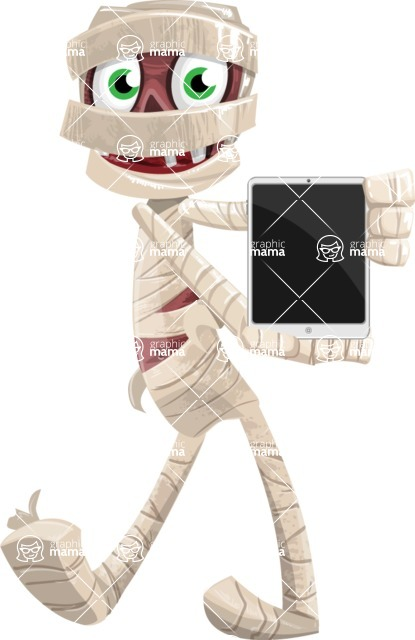 Funny Mummy Vector Cartoon Character - With a Tablet