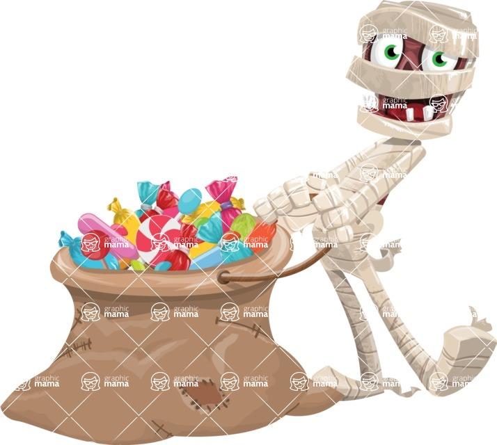 Funny Mummy Vector Cartoon Character - With Bag full of Halloween Treats