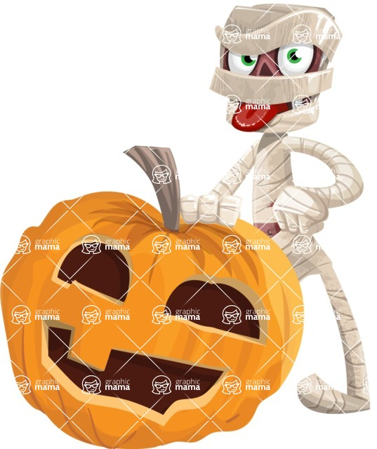 Funny Mummy Vector Cartoon Character - With Big Halloween Pumpkin