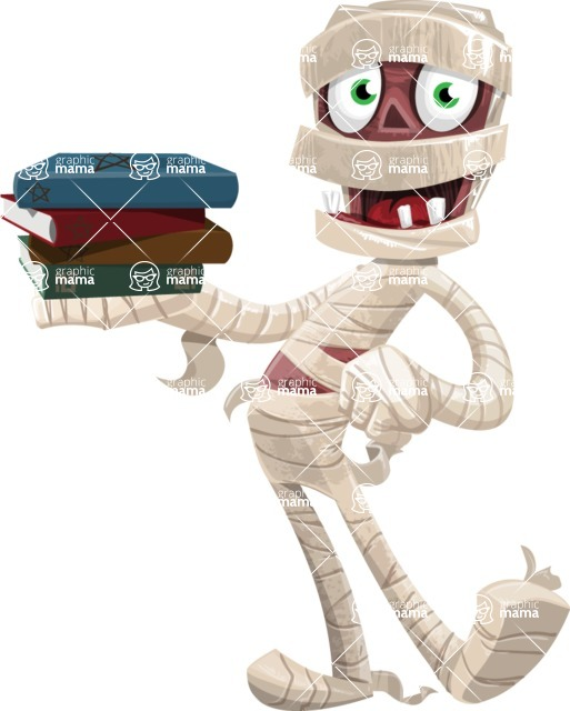 Funny Mummy Vector Cartoon Character - With Books