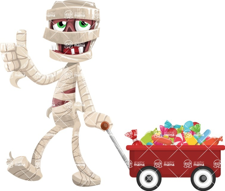 Funny Mummy Vector Cartoon Character - With Candy Wagoon