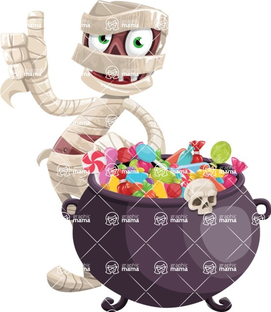 Funny Mummy Vector Cartoon Character - with Cauldron full of Sweets