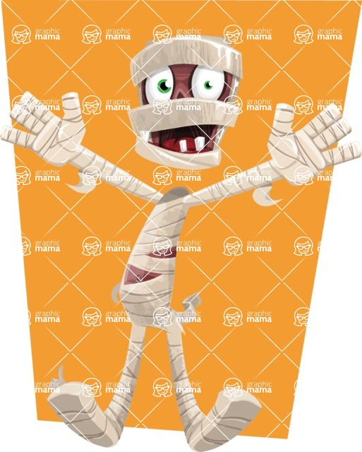 Funny Mummy Vector Cartoon Character - With Flat Background