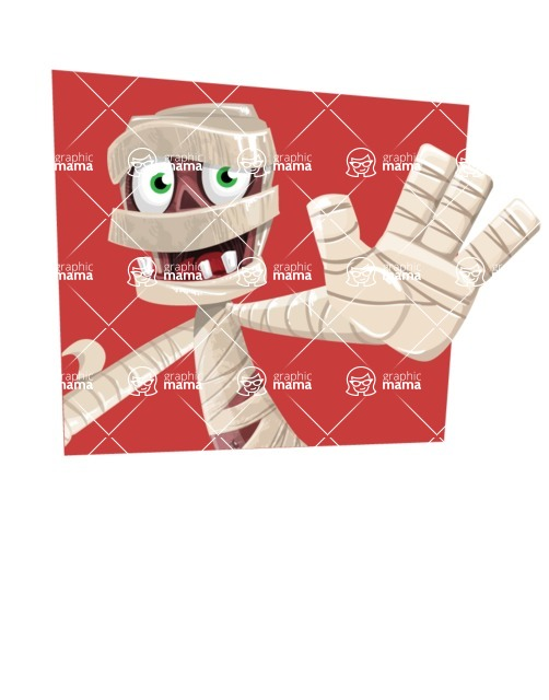Funny Mummy Vector Cartoon Character - With Flat Shape Background Template