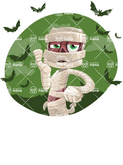 Funny Mummy Vector Cartoon Character - With Halloween Background with Bats