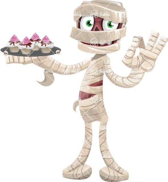 Funny Mummy Vector Cartoon Character - With Halloween Sweets