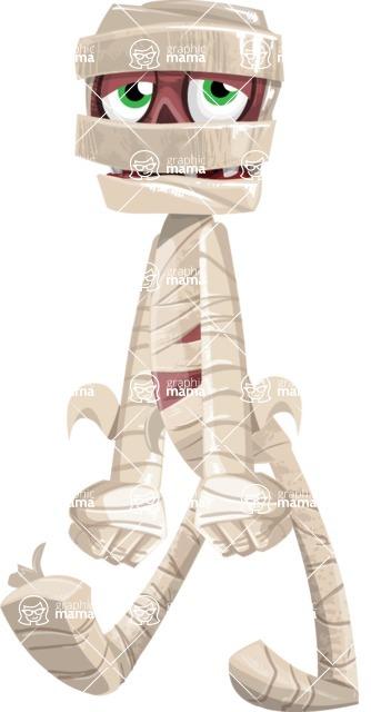 Funny Mummy Vector Cartoon Character - With Sad Face