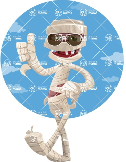 Funny Mummy Vector Cartoon Character - With Sunglasses on Sunny Day Illustration