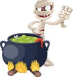 Funny Mummy Vector Cartoon Character - Cooking in a Caldron