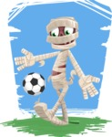 Funny Mummy Vector Cartoon Character - Happy Sporting in Sunny Day Cartoon Illustration
