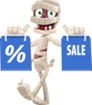 Funny Mummy Vector Cartoon Character - Holding Shopping Bags