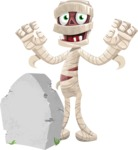 Funny Mummy Vector Cartoon Character - On a Graveyard
