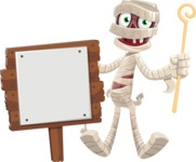 Funny Mummy Vector Cartoon Character - With a Blank Wood Sign