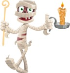 Funny Mummy Vector Cartoon Character - With a Candle