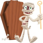 Funny Mummy Vector Cartoon Character - With a Coffin