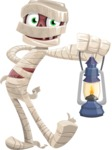 Funny Mummy Vector Cartoon Character - With a Lantern
