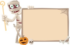 Funny Mummy Vector Cartoon Character - With Blank Halloween Whiteboard