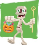 Funny Mummy Vector Cartoon Character - With Candies and Cool Background Illustration