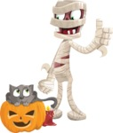 Funny Mummy Vector Cartoon Character - With Cat