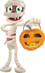 Funny Mummy Vector Cartoon Character - With Halloween Lantern