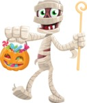 Funny Mummy Vector Cartoon Character - with Halloween Pumpkin and Candies