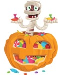 Funny Mummy Vector Cartoon Character - With Huge Pumpkin full of Treats