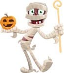 Funny Mummy Vector Cartoon Character - With Pumpkin