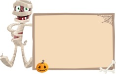 Funny Mummy Vector Cartoon Character - With Whiteboard on Halloween Theme