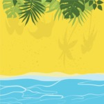 Nature Backgrounds, Patterns and Frames Themed Graphic Collection - Summer Beach and Sea Background