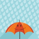 Nature Backgrounds, Patterns and Frames Themed Graphic Collection - Rainy Background with Umbrella