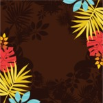 Nature Backgrounds, Patterns and Frames Themed Graphic Collection - Floral Background with Colorful Leaves