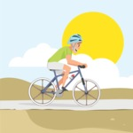 Nature Backgrounds, Patterns and Frames Themed Graphic Collection - Cycling in a Sunny Day Vector Illustration