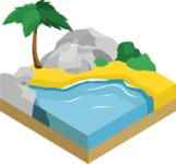 Nature Backgrounds, Patterns and Frames Themed Graphic Collection - Isometric Beach Landscape Background