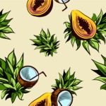 Nature Backgrounds, Patterns and Frames Themed Graphic Collection - Exotic Fruits Pattern