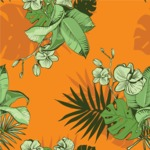 Nature Backgrounds, Patterns and Frames Themed Graphic Collection - Tropical Flowers Vector Pattern