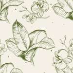 Nature Backgrounds, Patterns and Frames Themed Graphic Collection - Seamless Hand-Drawn Floral Pattern
