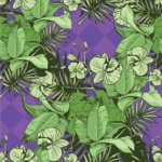 Nature Backgrounds, Patterns and Frames Themed Graphic Collection - Retro Green Flowers Pattern