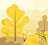 Nature Backgrounds, Patterns and Frames Themed Graphic Collection - Autumn Background with trees and plants