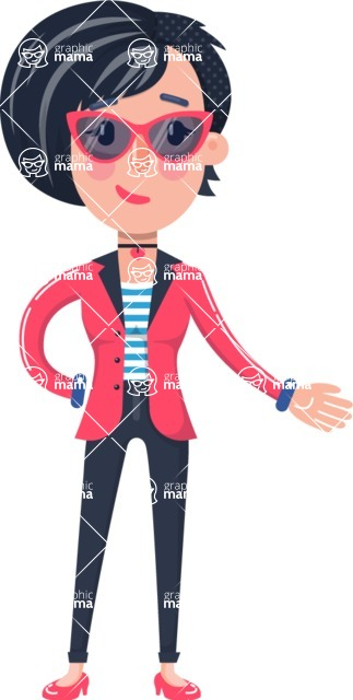 Cartoon Girl With Short Hair 112 Illustrations Showing With Left Hand Graphicmama