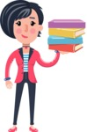 Cartoon Girl with Short Hair Vector Character - with Books