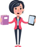 Cartoon Girl with Short Hair Vector Character - Choosing between Book and Tablet