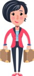 Cartoon Girl with Short Hair Vector Character - with Two briefcases