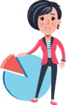 Cartoon Girl with Short Hair Vector Character - with Business graph