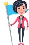 Cartoon Girl with Short Hair Vector Character - with Flag